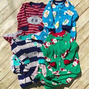 Carter's Full Zip Fleece Footed Pajama 4pc Lot